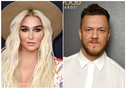 (AP Photo). This combination photo shows musicians Kesha, left, and Dan Reynolds of Imagine Dragons. Kesha will headline the LOVELOUD Festival, the LGBTQ+ event founded by Reynolds. The festival will be held on June 29, 2019, at the USANA Amphitheatre ...