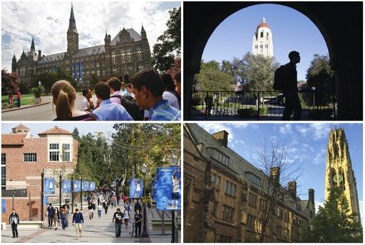 (AP Photos). This combination of images shows college campuses, clockwise from top left, Georgetown University, Stanford University, Yale University, and University of California, Los Angeles. Prosecutors said dozens of parents paid bribes to alter the...