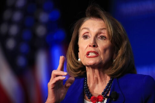 (AP Photo/Manuel Balce Ceneta). House Speaker Nancy Pelosi of Calif., speaks at an Economic Club of Washington luncheon gathering in Washington, Friday, March 8, 2019.