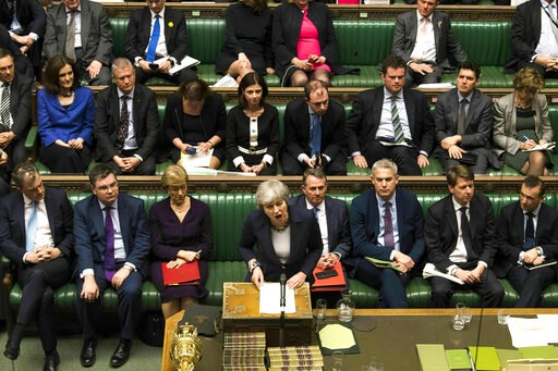 (Mark Duffy/UK Parliament via AP). Britain's Prime Minister Theresa May speaks to lawmakers in the House of Commons, London, Wednesday March 13, 2019. In a tentative first step toward ending months of political deadlock, British lawmakers voted Wednesd...