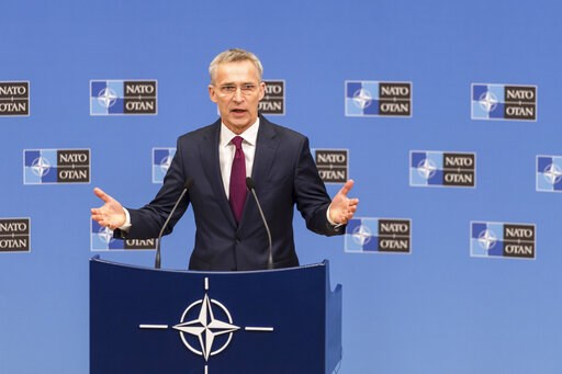 (AP Photo/Geert Vanden Wijngaert). NATO Secretary General Jens Stoltenberg presents the annual report for 2018 during a media conference at NATO headquarters in Brussels, Thursday, March 14, 2019.