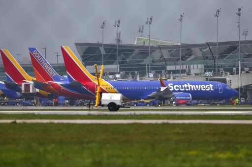 (Yi-Chin Lee/Houston Chronicle via AP). A Boeing 737 MAX 8 operated by Southwest Airlines sits at a gate at Hobby Airport after arriving Wednesday, March 13, 2019, in Houston. The flight was already in the air on its way to Houston when the emergency o...