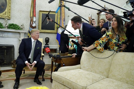 (AP Photo/ Evan Vucci). President Donald Trump meets with Irish Prime Minister Leo Varadkar in the Oval Office of the White House, Thursday, March 14, 2019, in Washington.