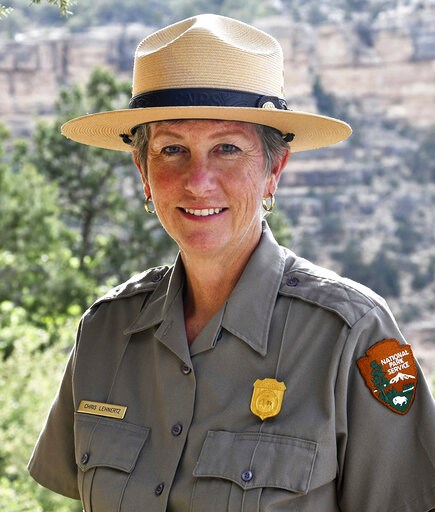 (Michael Quinn/National Park Service via AP, File). FILE - This May 19, 2018 file photo released by the National Park Service shows Grand Canyon National Park Superintendent, Christine Lehnertz at Grand Canyon National Park, Ariz. Lehnertz has not retu...
