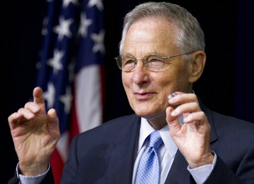 (AP Photo/Manuel Balce Ceneta, File). FILE - In this June 20, 2012 file photo, former Sen. Birch Bayh, D-Ind., the author of Title IX in Congress, speaks during a forum in the South Court Auditorium at the White House in Washington in a gathering to ce...