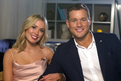 "(AP Photo/Gary Gerard Hamilton). Cast members Cassie Randolph, left, and Colton Underwood from the reality series, ""The Bachelor,"" appear during an interview in New York on Wednesday, March 13, 2019."