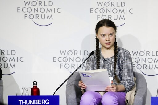(AP Photo/Markus Schreiber, file). FILE - In this Friday, Jan. 25, 2019 file photo, climate activist Greta Thunberg delivers her speech during a session of the World Economic Forum in Davos, Switzerland. Three Norwegian lawmakers have on Thursday, Marc...