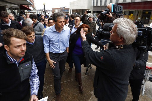 (AP Photo/Charlie Neibergall). In this March 14, 2019, photo, former Texas congressman Beto O'Rourke speaks to reporters after a meet and greet at the Beancounter Coffeehouse & Drinkery in Burlington, Iowa. The contours of the Democratic presidenti...