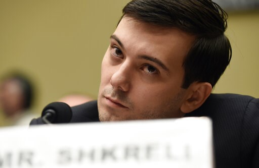 (AP Photo/Susan Walsh). FILE - In this Thursday, Feb. 4, 2016 file photo, former Turing Pharmaceuticals CEO Martin Shkreli attends the House Committee on Oversight and Reform Committee hearing on Capitol Hill in Washington. Shkreli, who provoked outrag...