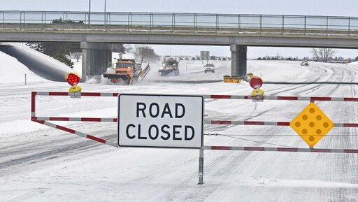 (Tom Stromme/The Bismarck Tribune via AP). A pair of North Dakota Department of Transportation snowplows clear the westbound lane of I-94 on Thursday, March 14, 2019 near Bismarck.   North Dakota transportation officials closed sections of major inters...