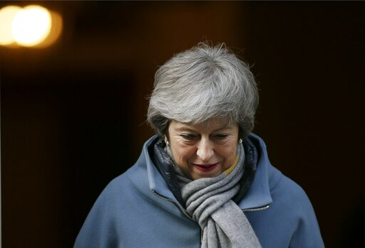 (AP Photo/Tim Ireland). Britain's Prime Minister Theresa May leaves 10 Downing street in London, Thursday, March 14, 2019. British lawmakers faced another tumultuous day Thursday, as Parliament prepared to vote on whether to request a delay to the coun...