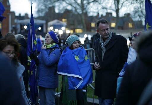 (AP Photo/Matt Dunham). Anti-Brexit, pro-remain in the European Union supporters gather outside the Houses of Parliament in London, Thursday, March 14, 2019. British lawmakers faced another tumultuous day Thursday, as Parliament prepared to vote on whe...