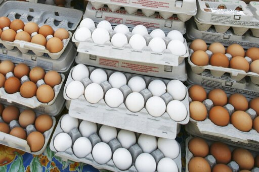 (AP Photo/Mark Lennihan). FILE - In this May 14, 2008 file photo, cartons of eggs are displayed for sale in the Union Square green market in New York. The latest U.S. research on eggs won't go over easy for those can't eat breakfast without them.Study ...