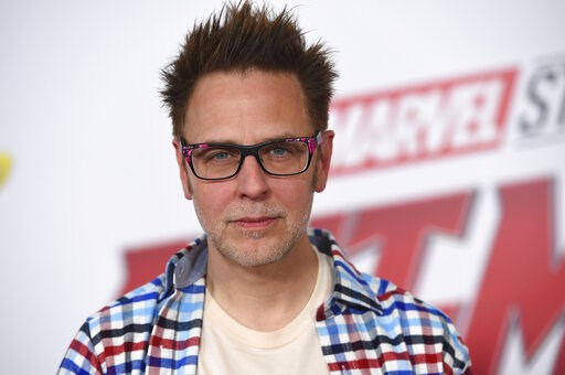 "(Photo by Jordan Strauss/Invision/AP, File). FILE - This June 25, 2018 file photo shows James Gunn at the premiere of ""Ant-Man and the Wasp"" in Los Angeles. Months after being fired over old tweets, James Gunn has been rehired as director of ""Guardians..."