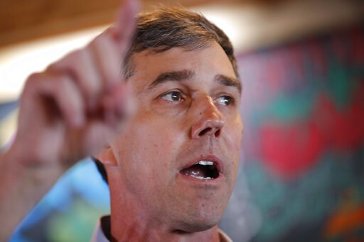 (AP Photo/Charlie Neibergall). Former Texas congressman Beto O'Rourke speaks to local residents during a stop at the Central Park Coffee Company, Friday, March 15, 2019, in Mount Pleasant, Iowa. O'Rourke announced Thursday that he'll seek the 2020 Demo...