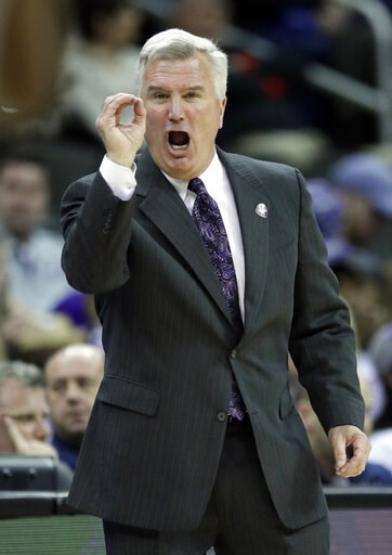 (AP Photo/Orlin Wagner). Kansas State head coach Bruce Weber calls a play during the first half of an NCAA college basketball game against Iowa State in the semifinals of the Big 12 Conference tournament in Kansas City, Mo., Friday, March 15, 2019.