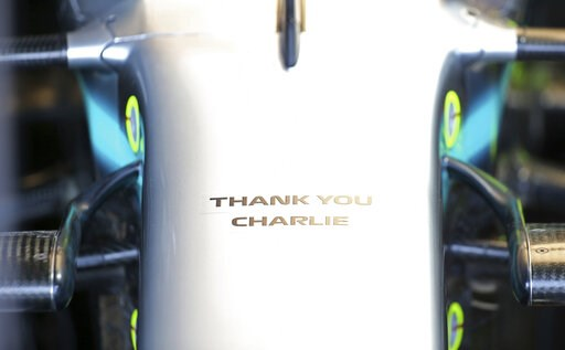 (AP Photo/Rick Rycroft). A tribute to Charlie Whiting, the former FIA Formula One Race Director who recently passed away, is on the front of Mercedes driver Lewis Hamilton's car during the final practice session for the Australian Grand Prix in Melbour...