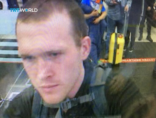 (TRT World via AP). This image taken from CCTV video obtained by the state-run Turkish broadcaster TRT World and made available on Saturday, March 16, 2016, shows the arrival of who it says is Brenton Tarrant, the suspect in the New Zealand mosque atta...