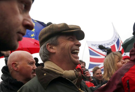 (AP Photo/Frank Augstein). Former UKIP party leader Nigel Farage joins the start of the first leg of March to Leave the European Union, in Sunderland, England, Saturday, March 16, 2019. Hard-core Brexiteers led by former U.K. Independence Party leader ...