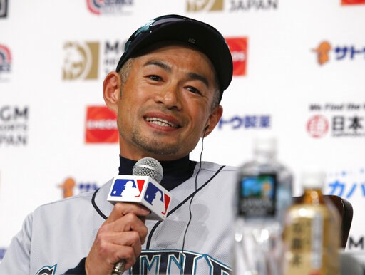 (AP Photo/Toru Takahashi). Seattle Mariners' Ichiro Suzuki speaks during a press conference in Tokyo Saturday, March 16, 2019. Ichiro is back in his native Japan and enjoying it while he can. He will play for the Mariners against the Oakland Athletics ...
