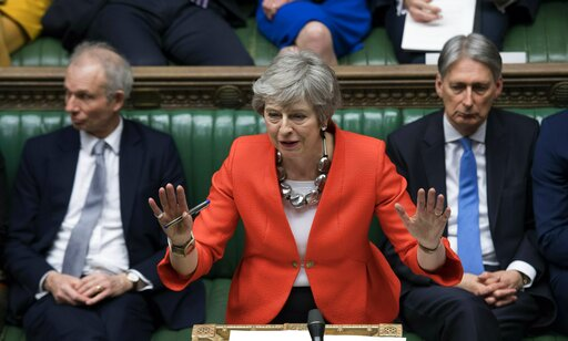 (Jessica Taylor/UK Parliament via AP, File). FILE - In this Tuesday March 12, 2019 file photo Britain's Prime Minister Theresa May speaks to lawmakers in parliament, London. Britain's love-hate relationship with the rest of Europe goes back decades, bu...