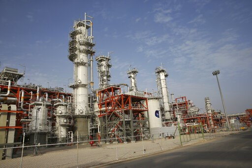 (AP Photo/Vahid Salemi). This Saturday, March 16, 2019 photo, shows a natural gas refinery at the South Pars gas field on the northern coast of the Persian Gulf, in Asaluyeh, Iran. Iran's President Hassan Rouhani on Sunday inaugurated a new phase in th...