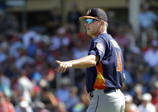 (AP Photo/Jeff Roberson). Houston Astros manager AJ Hinch motions to the bullpen as he walks out to the mound to make pitching change during the third inning of an exhibition spring training baseball game against the Washington Nationals Sunday, March ...