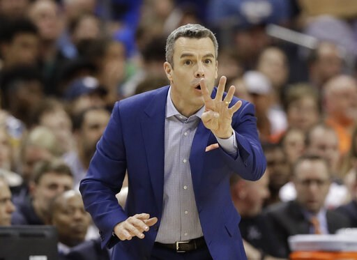 (AP Photo/Chuck Burton). Virginia coach Tony Bennett argues a call during the second half of an NCAA college basketball game against Florida State in the Atlantic Coast Conference tournament in Charlotte, N.C., Friday, March 15, 2019.
