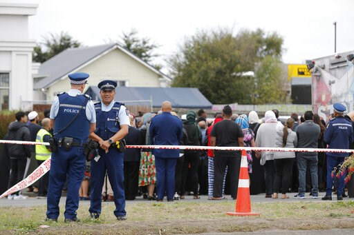 (AP Photo/Vincent Thian). Religious representatives perform a special blessing ceremony on the site of Friday's shooting outside the Linwood mosque in Christchurch, New Zealand, Monday, March 18, 2019. Three days after Friday's attack, New Zealand's de...