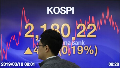 (AP Photo/Lee Jin-man). A currency trader walks by the screen showing the Korea Composite Stock Price Index (KOSPI) at the foreign exchange dealing room in Seoul, South Korea, Monday, March 18, 2019. Asian shares were mixed Monday as investors continue...