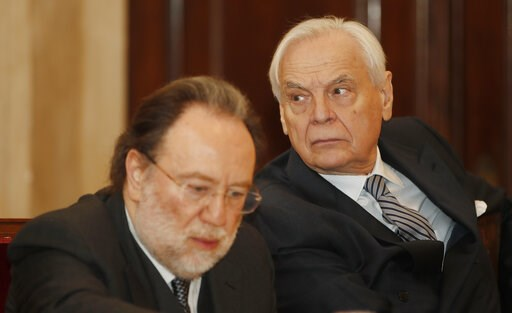 (AP Photo/Antonio Calanni). La Scala theater general manager Alexander Pereira, right, and La Scala conductor Riccardo Chailly attend a press conference, in Milan, Italy, Monday, March 11, 2019. Italy's premier opera house, La Scala in Milan, is under ...