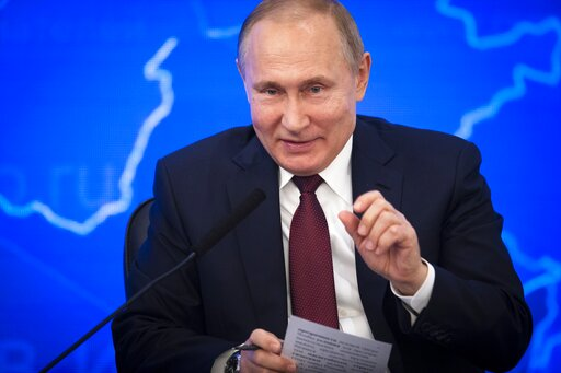 (AP Photo/Alexander Zemlianichenko). Russian President Vladimir Putin gestures while speakingh at a meeting of the Russian Union of Industrialists and Entrepreneurs in Moscow, Russia, Thursday, March 14, 2019. Putin urged the business community to enga...