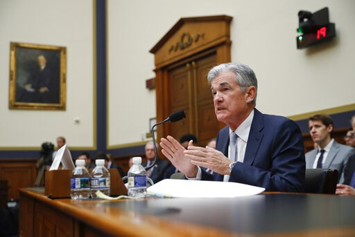 (AP Photo/Pablo Martinez Monsivais, File). FILE- In this Feb. 27, 2019, file photo Federal Reserve Board Chair Jerome Powell gestures while speaking before the House Committee on Financial Services hearing on Capitol Hill in Washington. The message the...