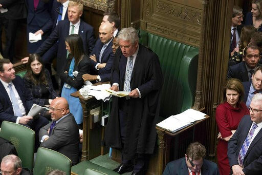 (UK Parliament/Jessica Taylor via AP). In this handout photo provided by UK Parliament, Speaker of the House John Bercow, centre, talks, during the Brexit debate in the House of Commons, London, Thursday March 14, 2019. Britain's Parliament has voted t...