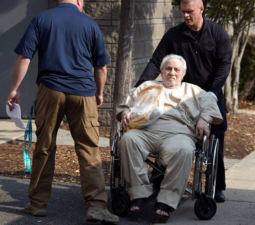 (Patrick Raycraft/Hartford Courant via AP, File). FILE - In this Sept. 5, 2017 file photo, Robert Gentile is wheeled into the federal courthouse in Hartford, Conn. The reputed Connecticut mobster, who authorities believe is the last surviving person of...