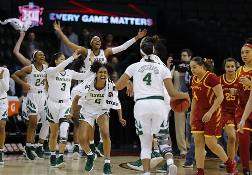 (AP Photo/Alonzo Adams). Baylor celebrates after defeating Iowa State during the Big 12 women's conference tournament championship in Oklahoma City, Monday, March 11, 2019. Baylor won 67-49.