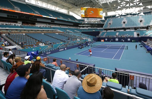 (AP Photo/Lynne Sladky). Novak Djokovic practices for the Miami Open tennis tournament at Hard Rock Stadium, Monday, March 18, 2019, in Miami Gardens, Fla. The Miami Open has moved north from its home since 1987, the picturesque island of Key Biscayne,...