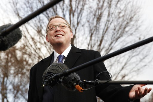 (AP Photo/Carolyn Kaster). FILE - In this Monday, March 4, 2019, file photo, Kevin Hassett, chairman of the White House Council of Economic Advisers, talks to media outside of the White House in Washington. Contrary to most economists, the Trump admini...