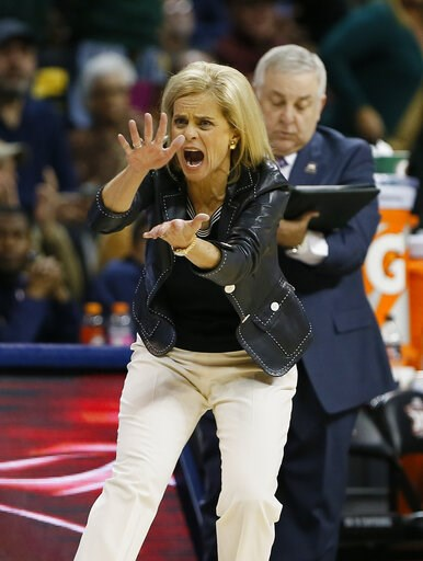 (AP Photo/Alonzo Adams). Baylor head coach Kim Mulkey instructs her team against Iowa State during the first half of an NCAA college basketball game in the Big 12 women's conference tournament championship in Oklahoma City, Monday, March 11, 2019.