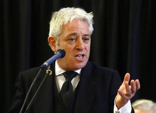 (AP Photo/Alastair Grant, FILE). FILE - In this file photo dated Thursday, March 22, 2018, John Bercow, Speaker of the House of Commons speaks at Westminster Hall inside the Palace of Westminster in London.  Bercow dealt a potentially fatal blow to Pri...