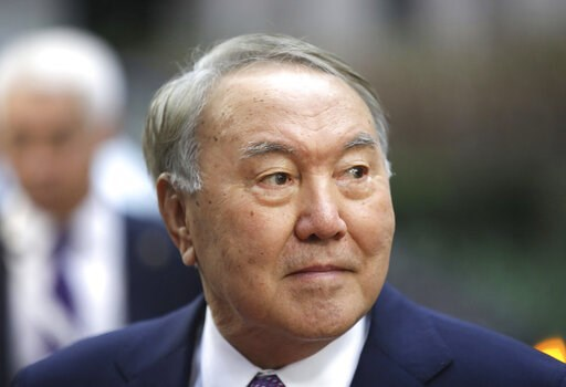(AP Photo/Olivier Matthys, File). FILE - In this Friday, Oct. 19, 2018 file photo, Kazakhstan's President Nursultan Nazarbayev arrives for an EU-ASEM summit in Brussels. The president of Kazakhstan Nursultan Nazarbayev, who has ruled the oil-rich ex-So...