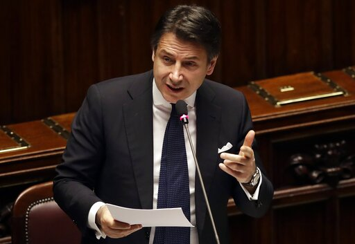 (AP Photo/Alessandra Tarantino). Italian Premier Giuseppe Conte addresses the Lower Chamber of the Italian parliament in Rome, Tuesday, March 19, 2019.