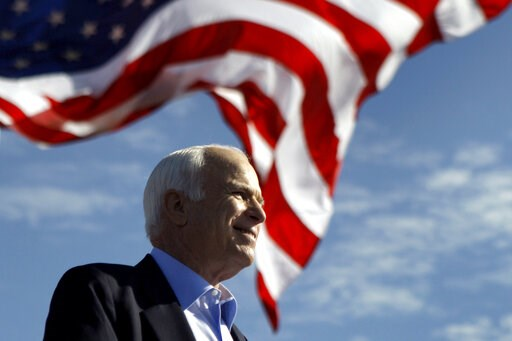 (AP Photo/Carolyn Kaster). FILE - In this Nov. 3, 208 file photo, Republican presidential candidate Sen. John McCain, R-Ariz. speaks at a rally outside Raymond James Stadium in Tampa, Fla. President Donald Trump is not backing down from his longstandin...
