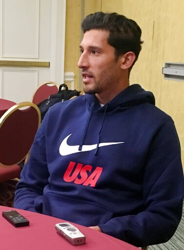(AP Photo/Ron Blum). United States defender Omar Gonzalez speaks with reporters Tuesday, March 19, 2019, at U.S. soccer training camp in Davenport, Fla. Gonzalez is back with the U.S. national team for the first time since his own goal at Trinidad and ...
