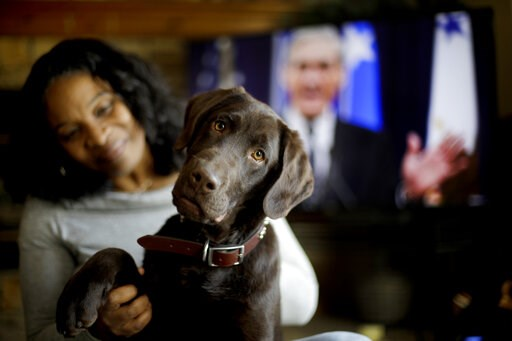 "(AP Photo/Charlie Riedel). Alicia Barnett sits with her Chocolate Labrador Retriever named ""Mueller"" in their Kansas City, Kan., home on March 11, 2019. Barnett named the puppy in honor of special prosecutor Robert Mueller, shown on the television in t..."