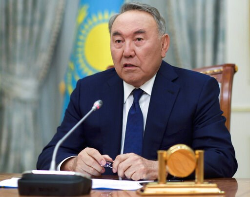 (Kazakhstan's Presidential Press Service via AP). Kazakh President Nursultan Nazarbayev speaks during a televised address to the oil-rich nation in Astana, Kazakhstan, Tuesday, March 19, 2019. President Nursultan Nazarbayev, the only leader that indepe...
