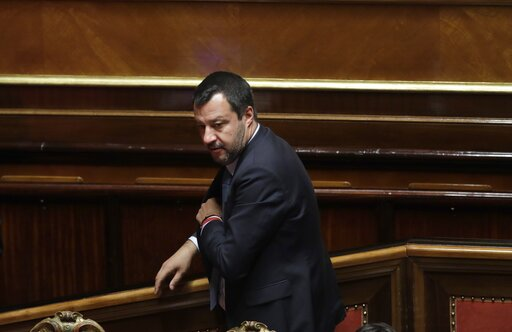 (AP Photo/Alessandra Tarantino). Italian Interior Minister and Vice Premier Matteo Salvini stands at the Italian Senate, in Rome, Wednesday, March 20, 2019. Salvini spoke in the Senate ahead of a vote on whether to lift his immunity as a lawmaker to fa...