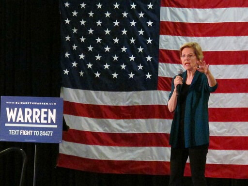 (AP Photo/Adrian Sainz). Democratic presidential candidate Elizabeth Warren speaks to a group of about 400 potential voters at a high school on Sunday, March 17, 2019, in Memphis, Tenn.