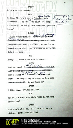 """(National Comedy Center via AP). This undated photo provided by the National Comedy Center shows a page from the script of a """"Dick Van Dyke Show"""" episode from Oct. 3, 1961 called """"The Sick Boy and the Sitter."""" Hollywood producer Carl Reiner and the Nat..."""
