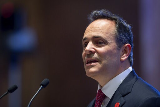 (AP Photo/Bryan Woolston, File). File-This Feb. 7, 2019, file photo shows Kentucky Gov. Matt Bevin delivering the State of the Commonwealth address to a joint session of the state legislature at the state Capitol in Frankfort, Ky. Bevin says he deliber...